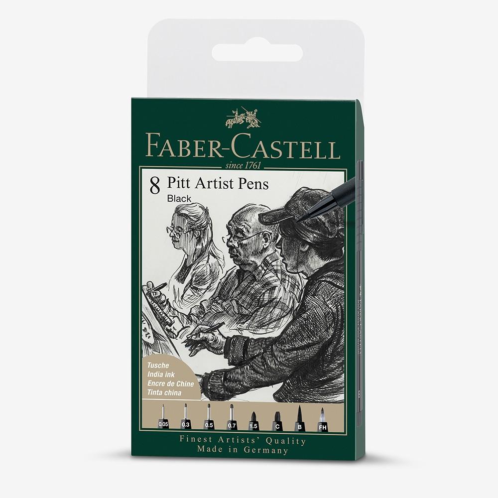 Faber Castell : Pitt Artists Brush Pen : Set of 8 : Assorted Black Nibs