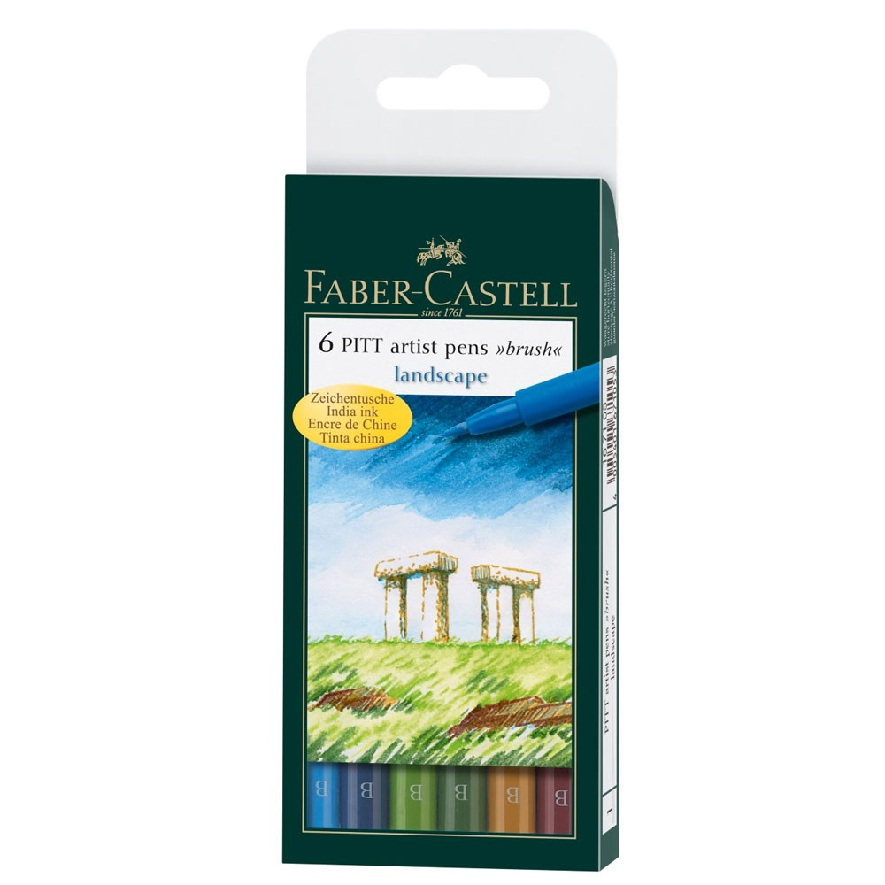 Faber Castell : Pitt Artists Brush Pen : Set of 6 : Landscape