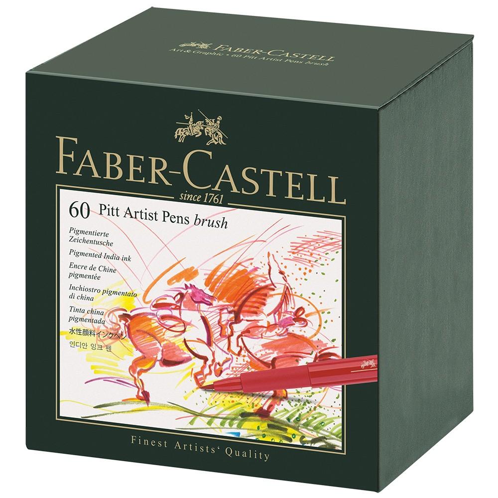 Faber Castell : Pitt Artists Brush Pen Gift Box : Set of 60 Assorted Colours