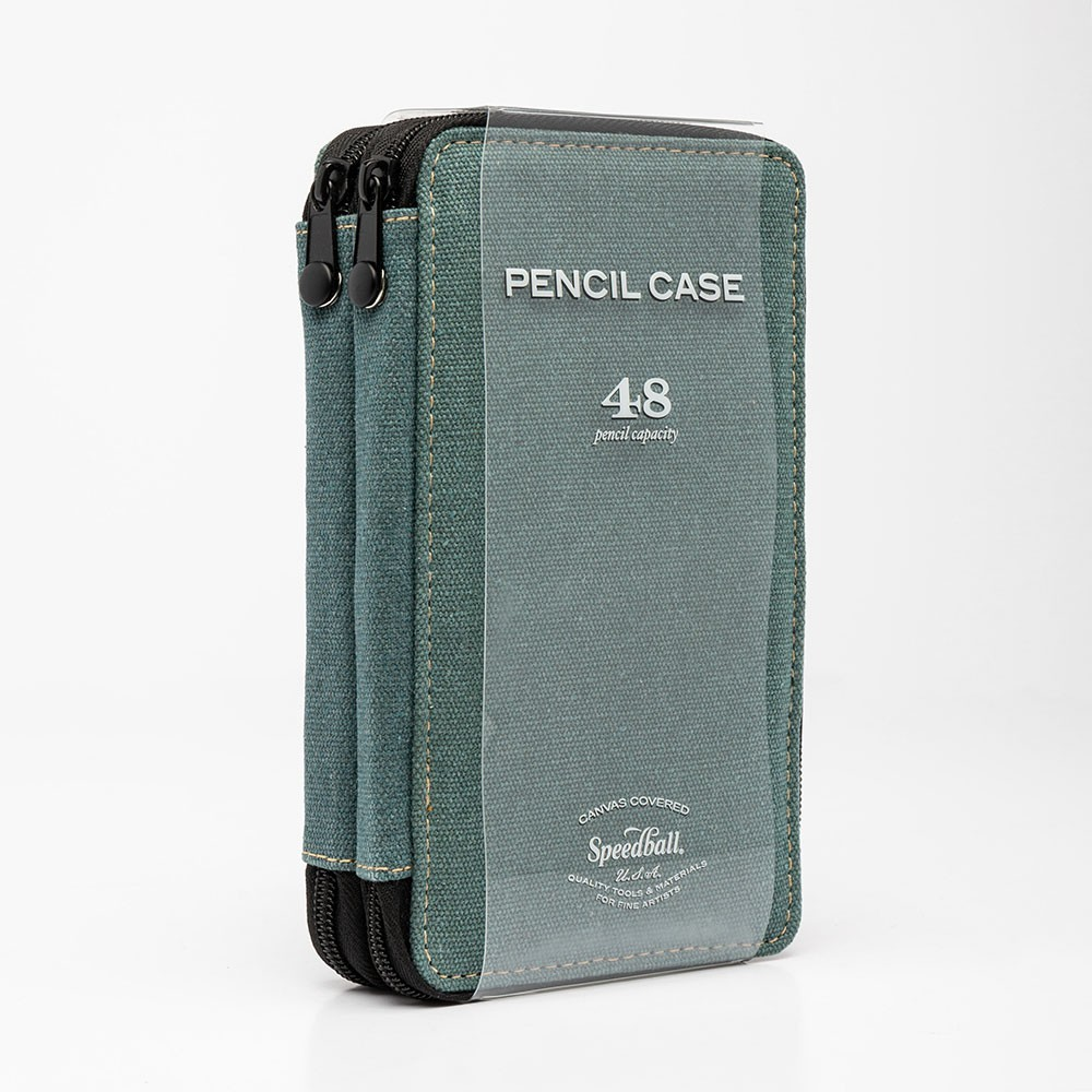 Global : Canvas Style Steel Blue Folding Colour Pencil Case Holds 48