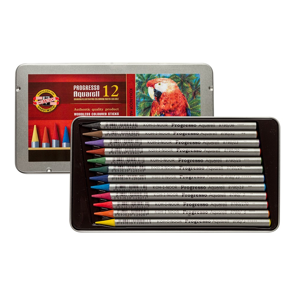 Koh-I-Noor : Progresso : Woodless Watercolour Pencils : Tin Set of 12