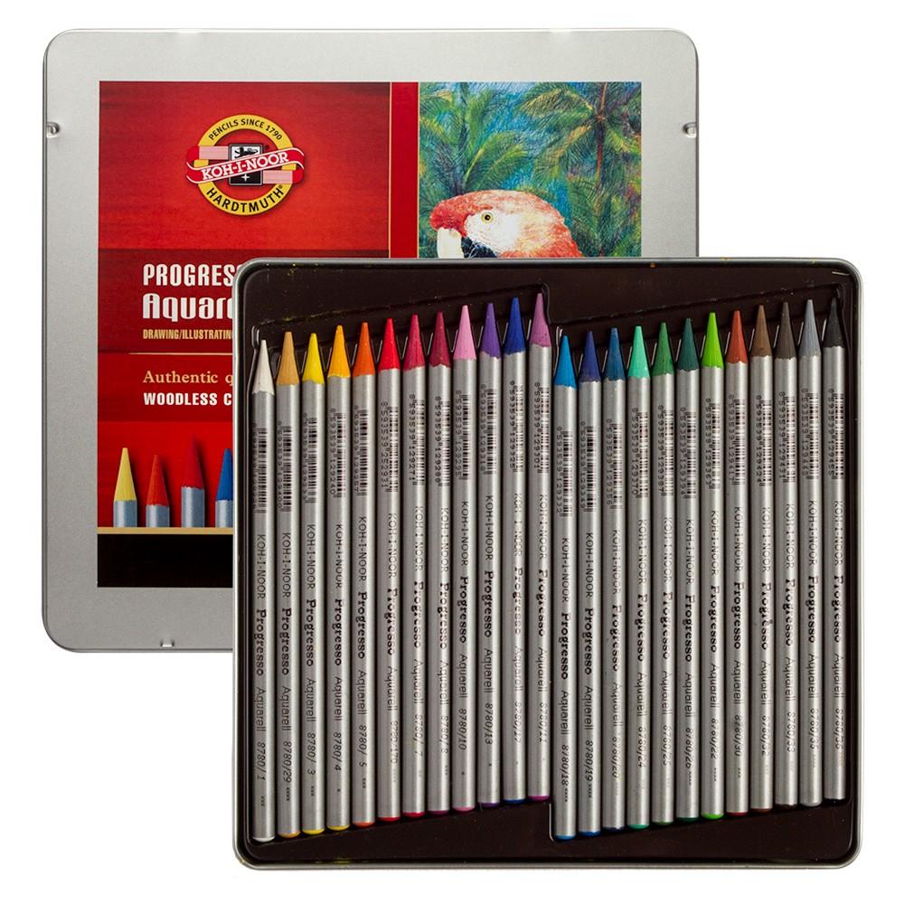 Koh-I-Noor : Progresso : Woodless Watercolour Pencils : Tin Set of 24