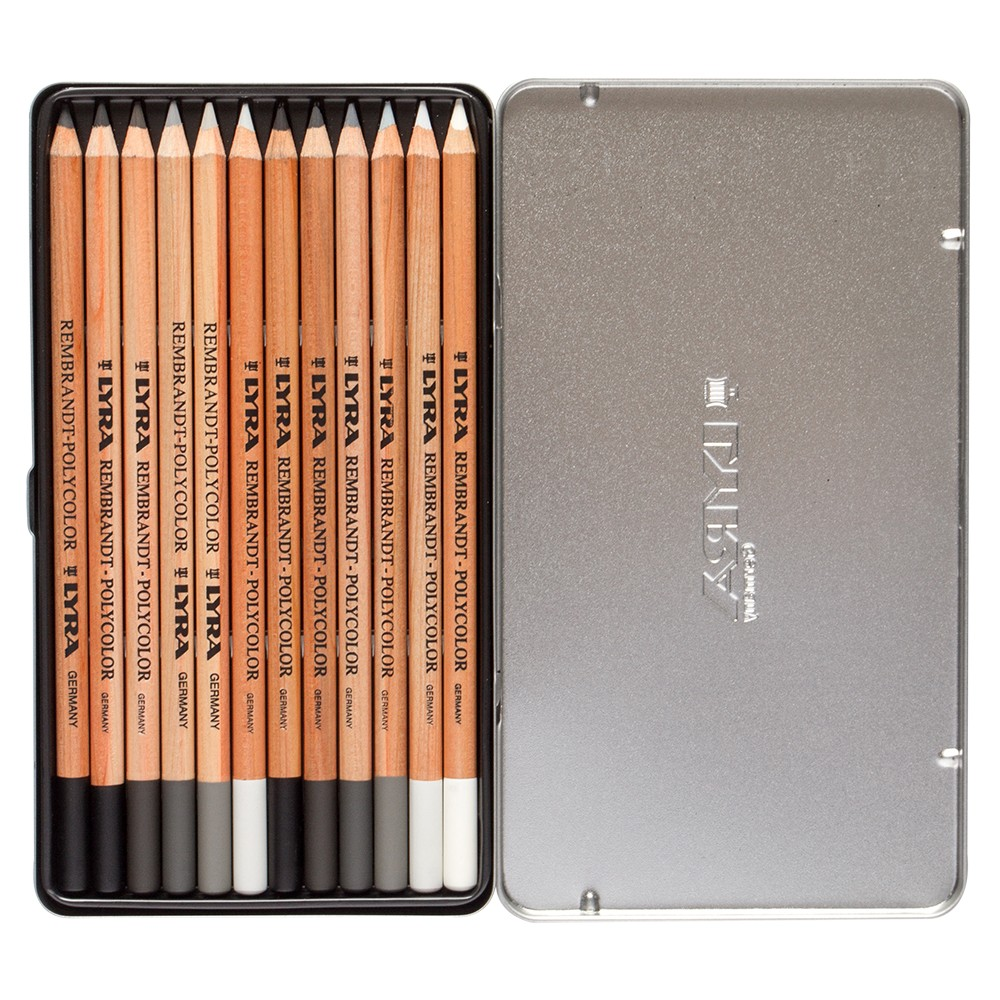Lyra Rembrandt Polycolor Coloured Pencil Set : Grey Tones Metal Box 12 pcs