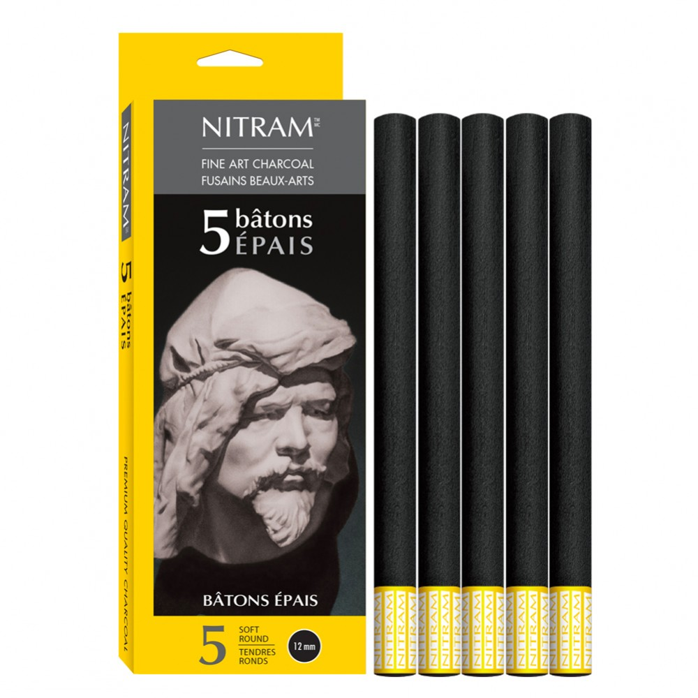 Nitram : Épais Bâton Round Stick Charcoal : Pack of 5 : 12mm