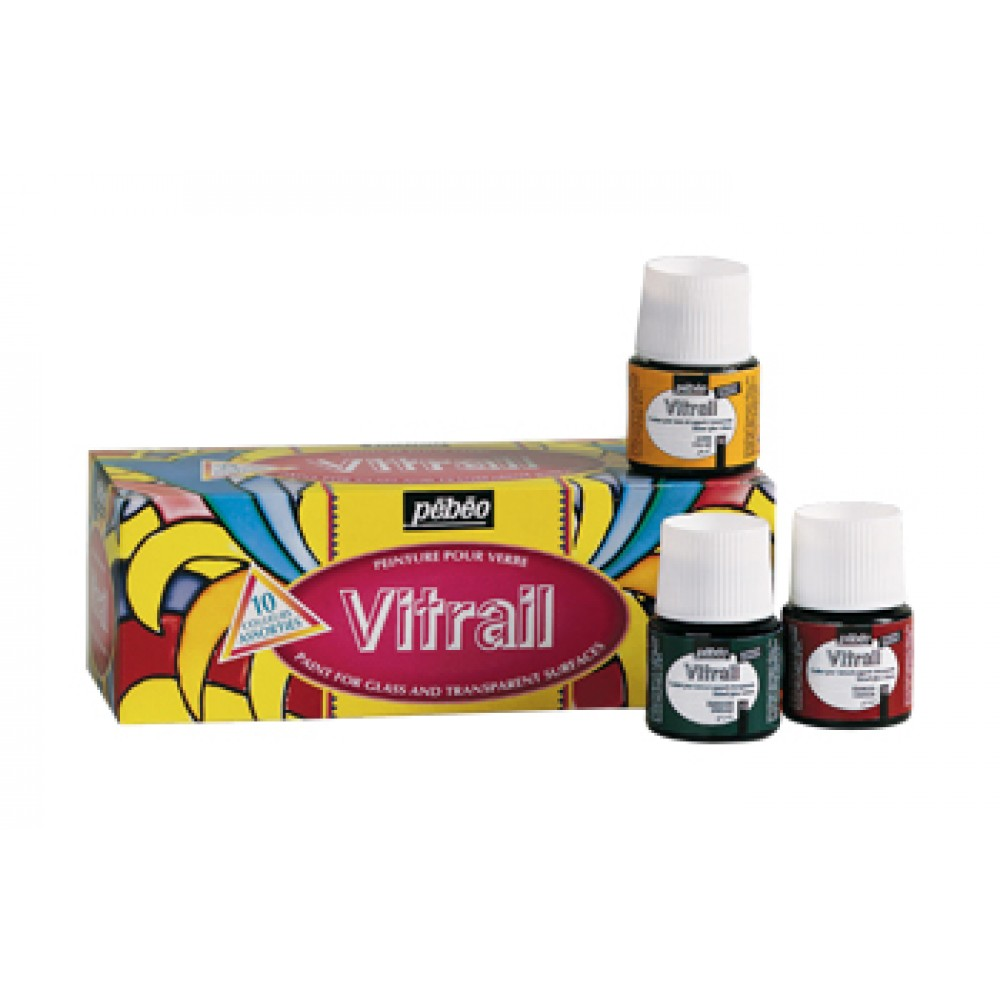 Pebeo : Vitrail School Pack of 10 : 45ml : Assorted Colours : By Road Parcel Only
