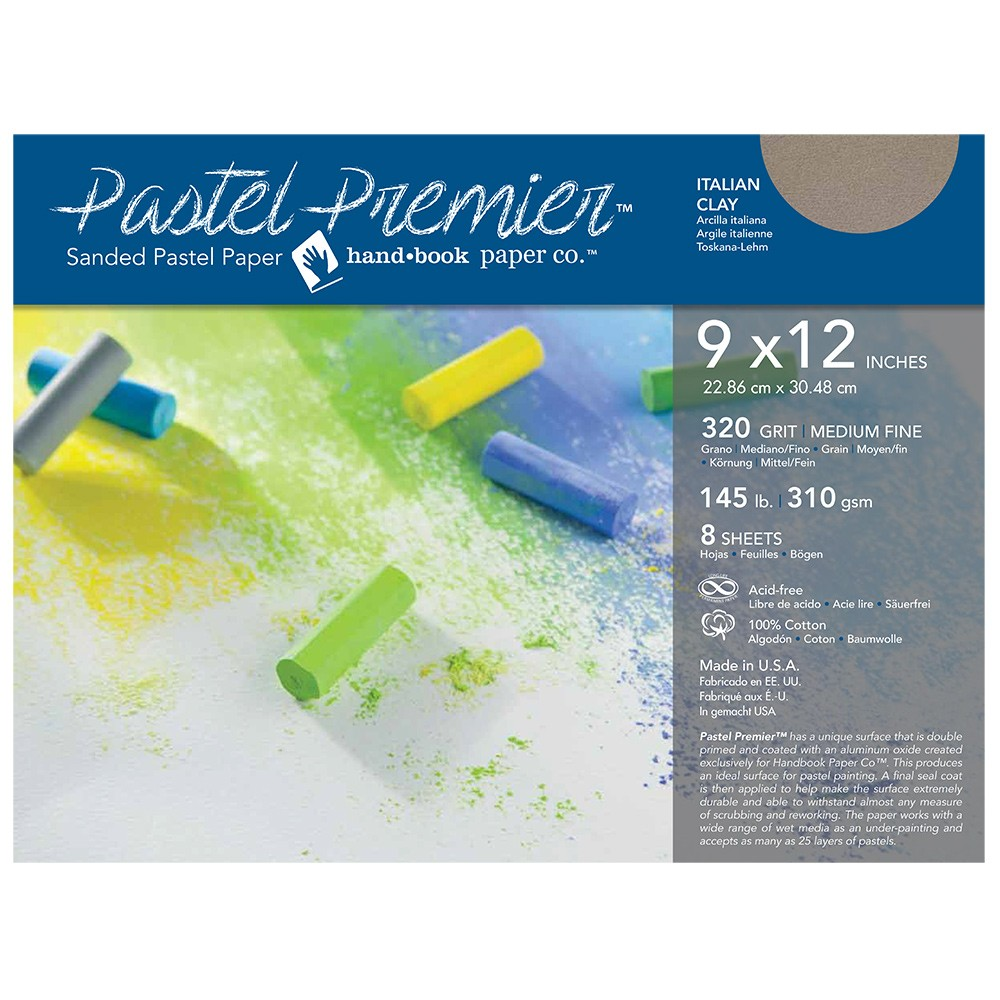 Global : Pastel Premier : Sanded Pastel Paper : Medium Grit : 9x12in : Pack of 8 : Italian Clay