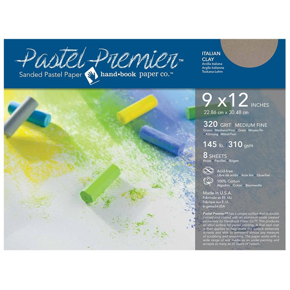 Global : Pastel Premier : Sanded Pastel Paper : Medium Grit : 9x12in : Pack of 8 : Italian Clay