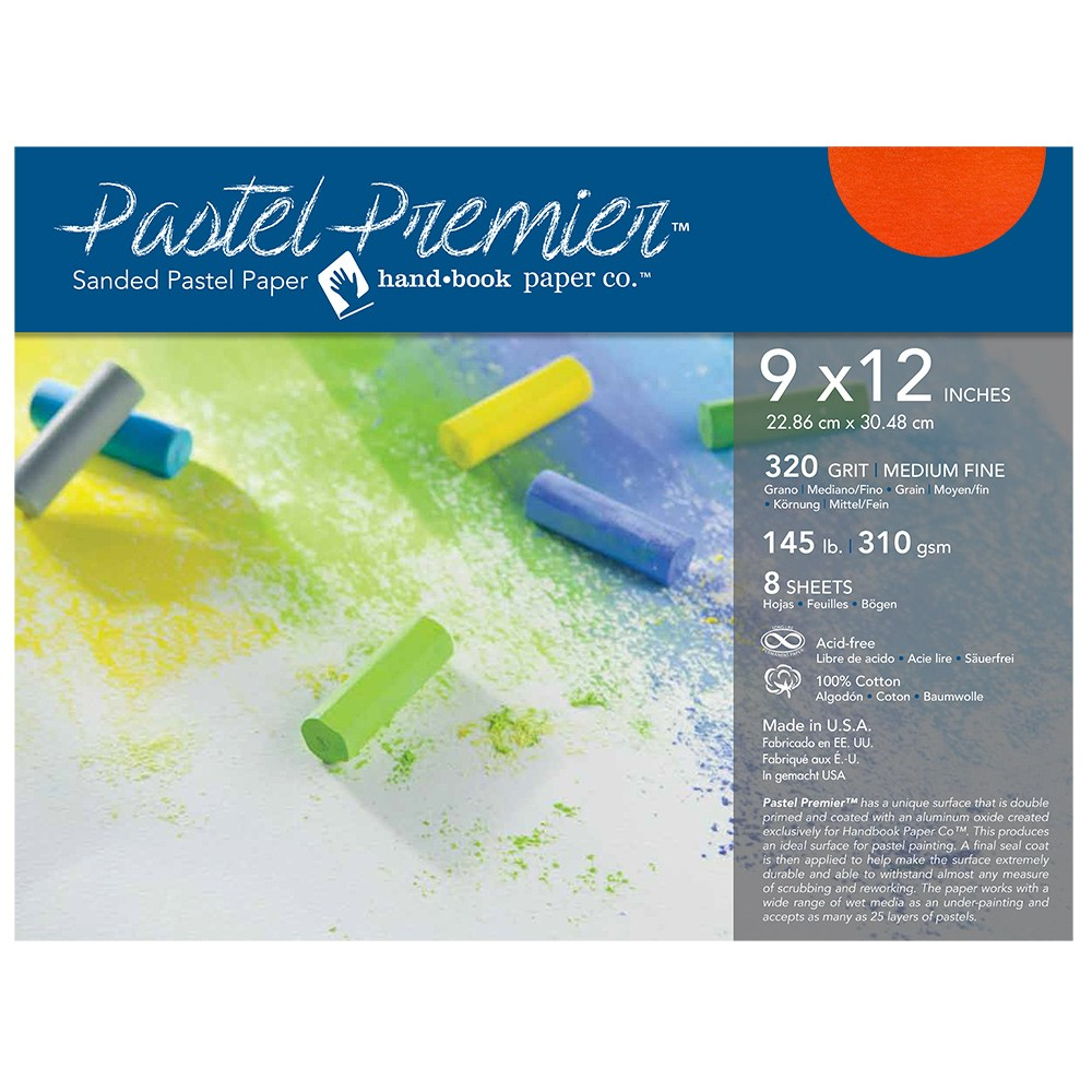 Global : Pastel Premier : Sanded Pastel Paper : Medium Grit : 9x12in : Pack of 8 : Terracotta