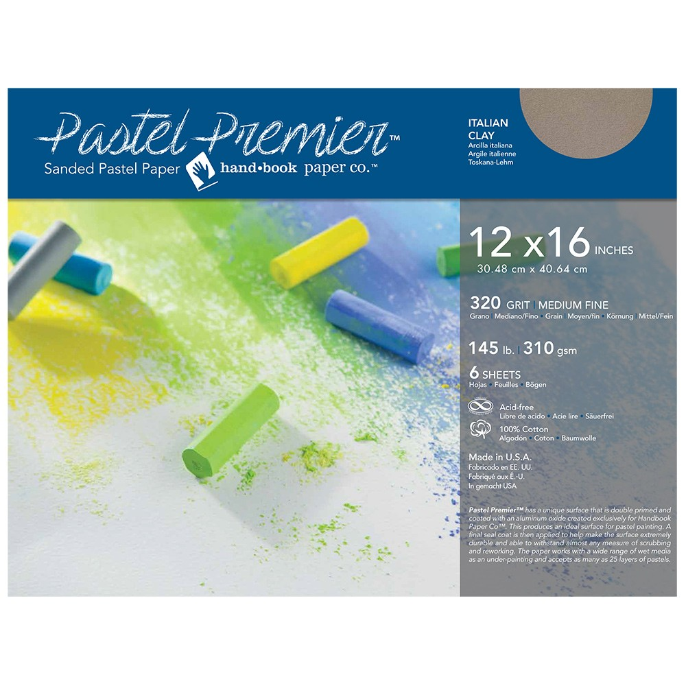 Global : Pastel Premier : Sanded Pastel Paper : Medium Grit : 12x16in : Pack of 6 : Italian Clay