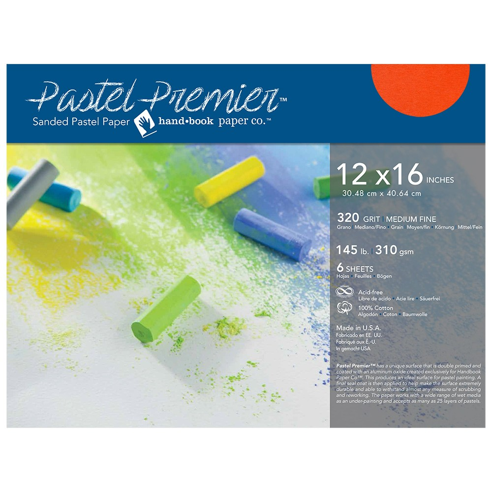 Global : Pastel Premier : Sanded Pastel Paper : Medium Grit : 12x16in : Pack of 6 : Terracotta