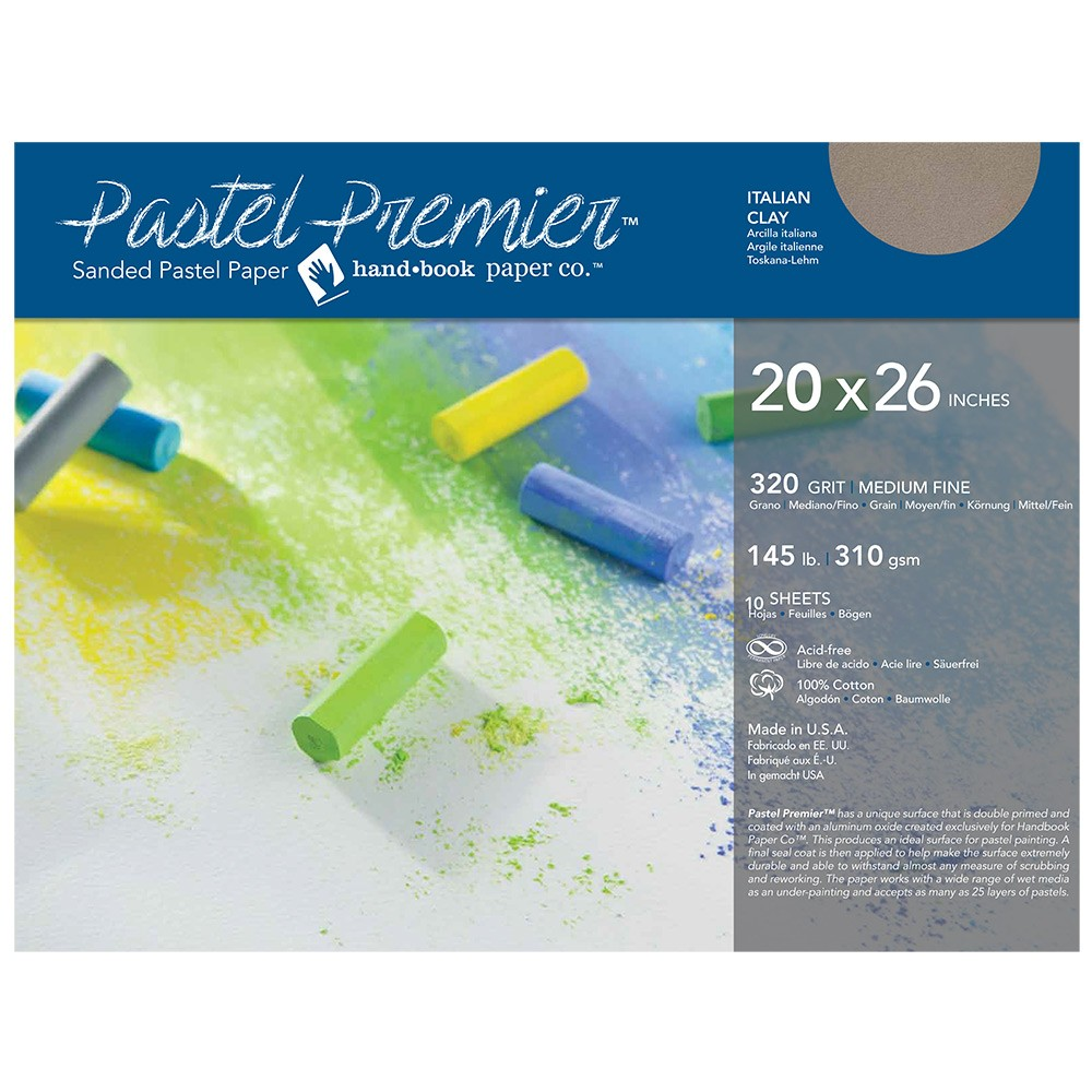 Global : Pastel Premier : Sanded Pastel Paper : Medium Grit : 20x26in : Pack of 10 : Italian Clay