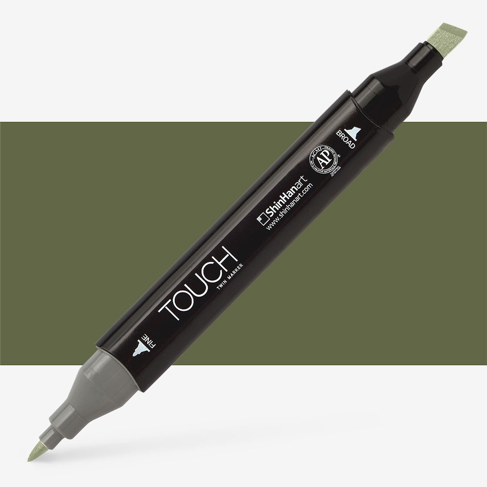 Shin Han : Touch Twin Marker Pen : Olive Green Dark : Y225