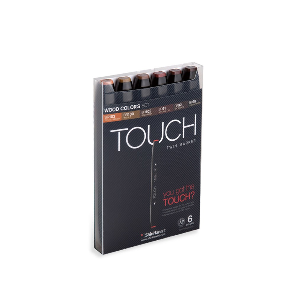 ShinHan : Touch Twin 6 Marker Pen Set : Wood Colors