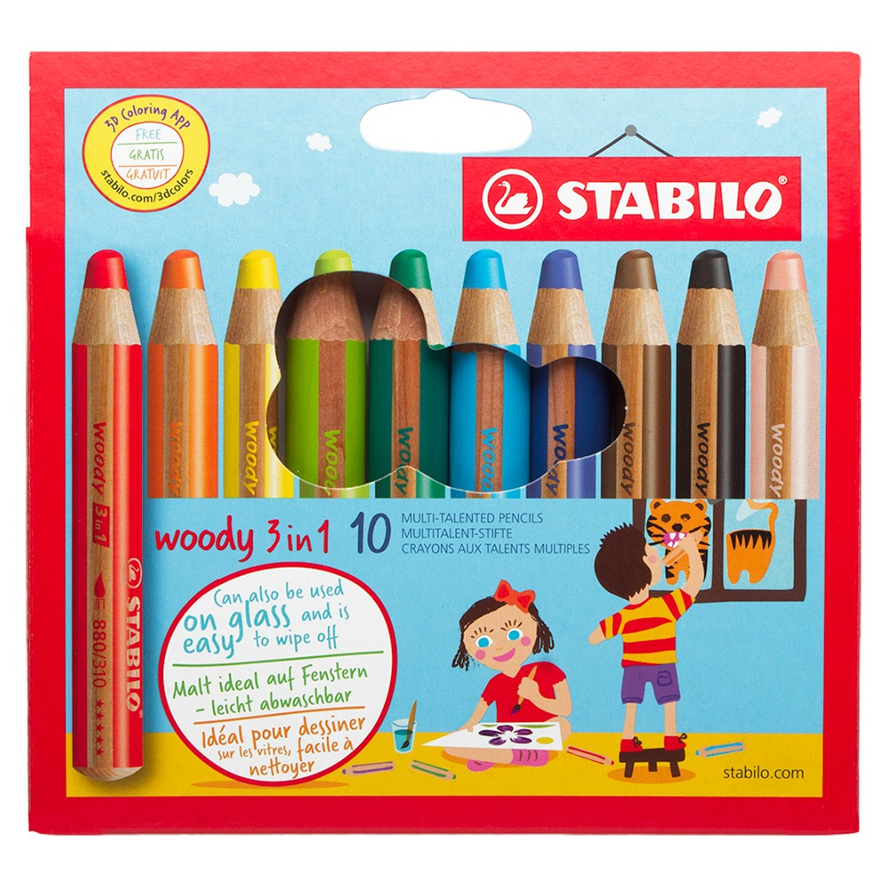 Stabilo : Woody 3-in-1 : Pencil : Wallet Set of 10