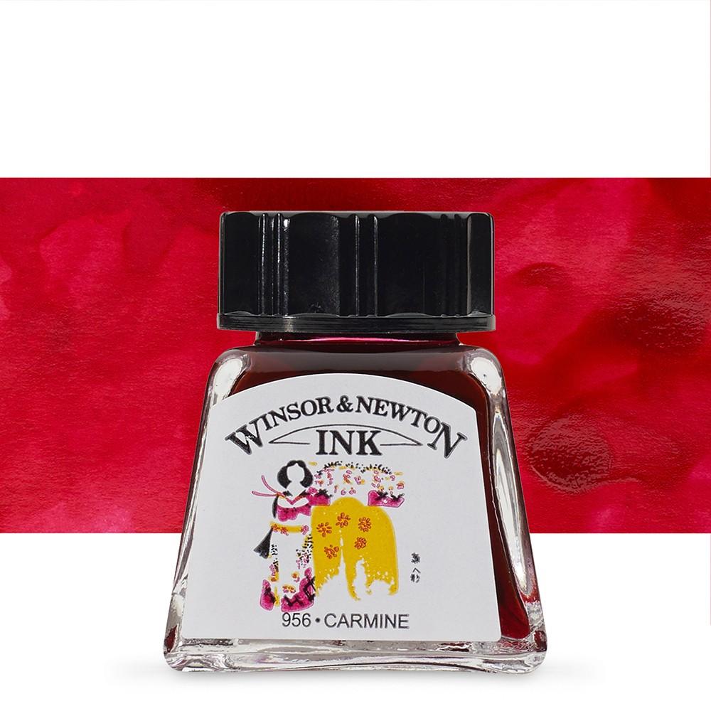 Winsor & Newton : Drawing Ink 14ml Bottle : Carmine : (water resistant)