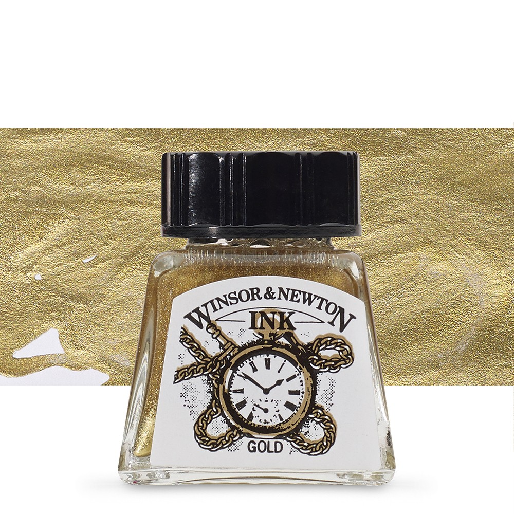 Winsor & Newton : Drawing Ink 14ml Bottle : Gold : (water resistant)