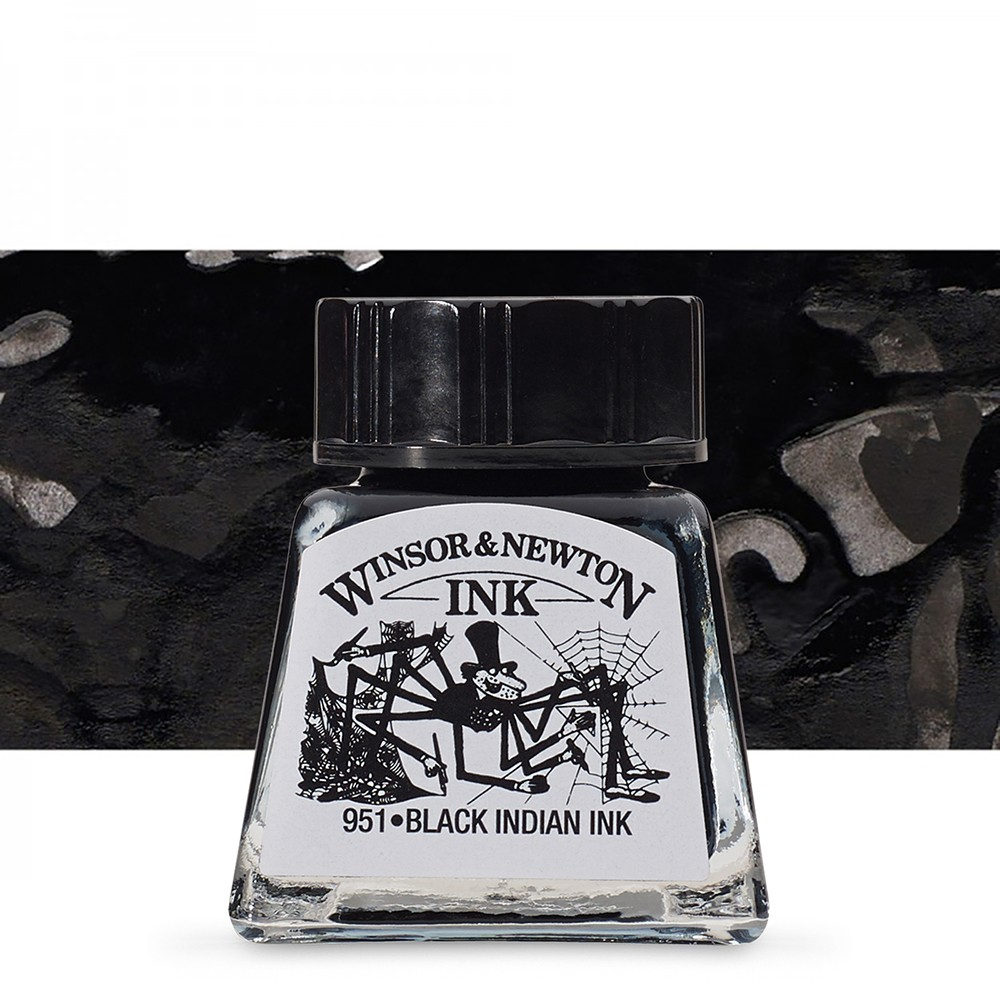 Winsor & Newton : Drawing : Black Indian Ink 30ml : (water resistant)