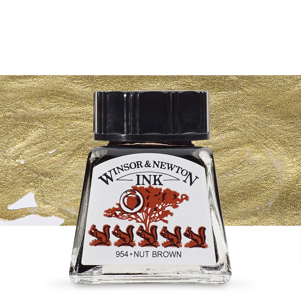 Winsor & Newton : Drawing Ink 14ml Bottle : Nut Brown : (water resistant)