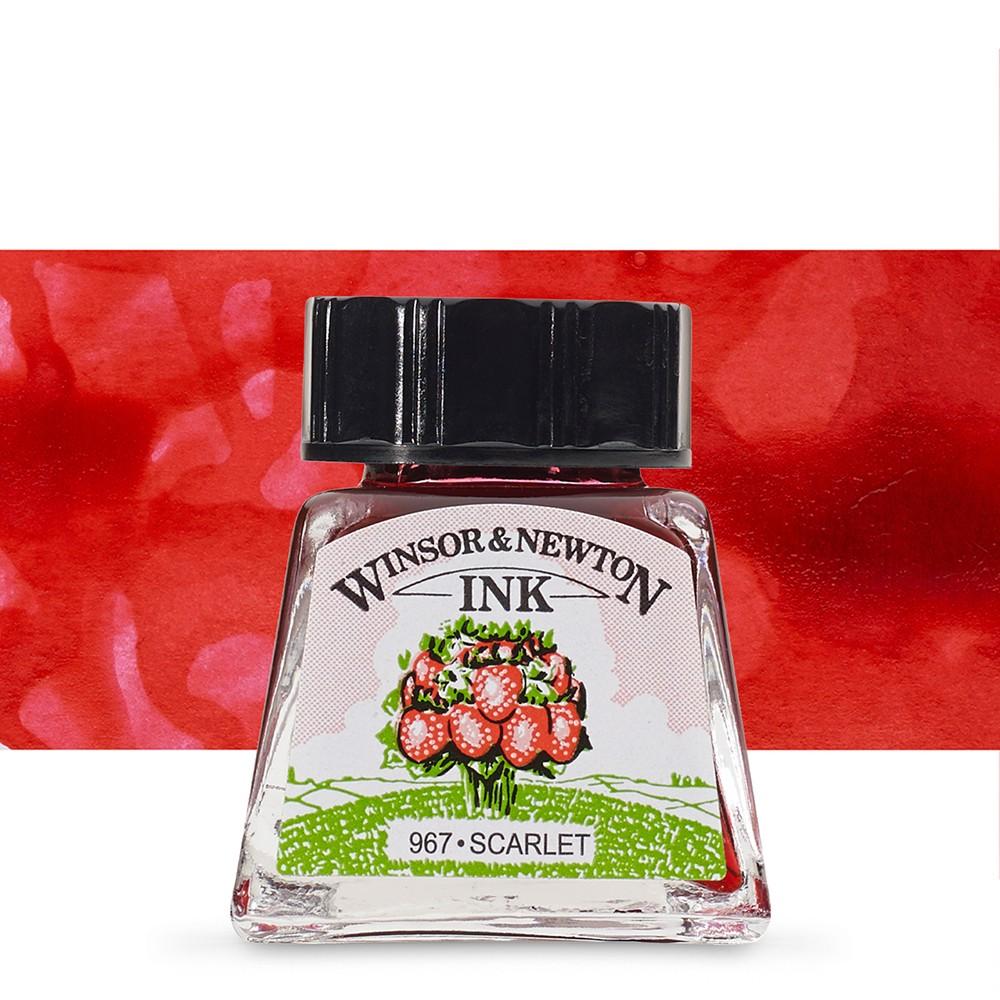 Winsor & Newton : Drawing Ink 14ml Bottle : Scarlet : (water resistant)
