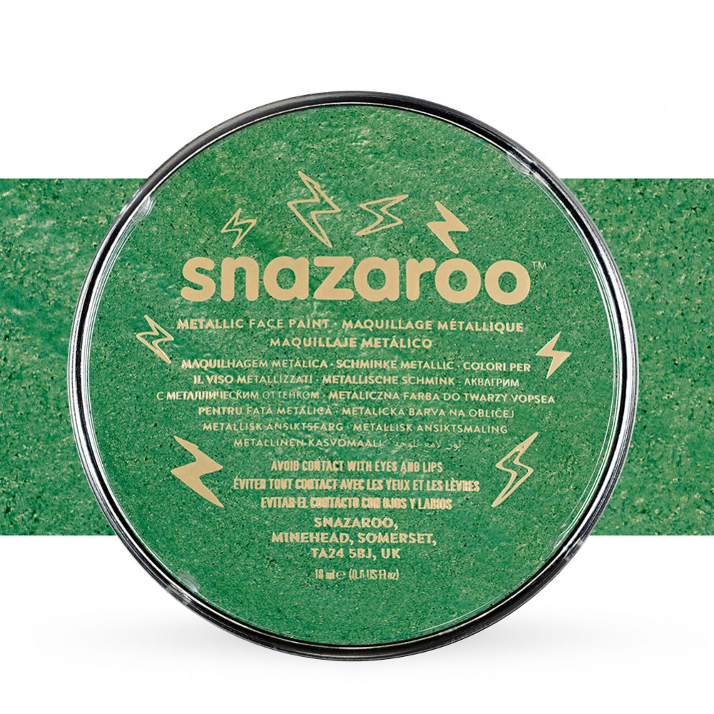 Snazaroo Face Paints Individual Metalic Colours 18ml Electric Green