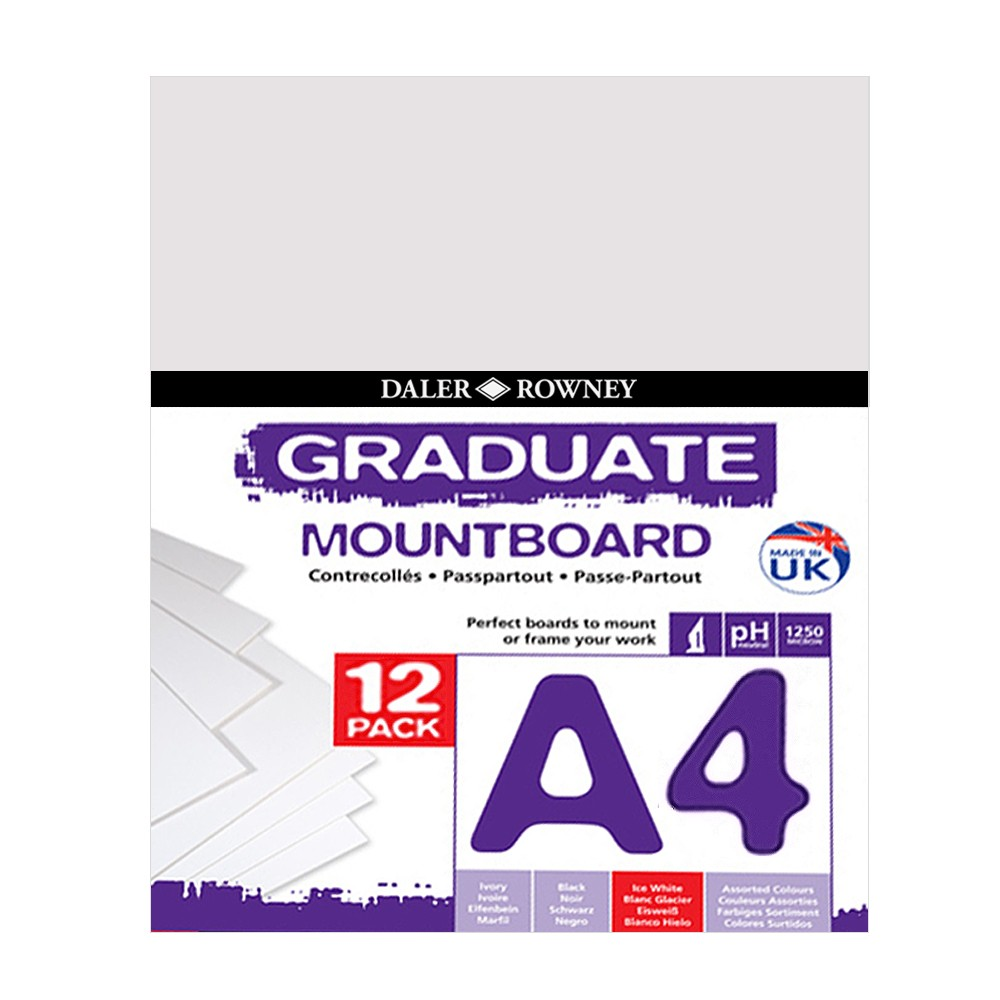 Daler Rowney : Graduate Mountboard A4 : Ice White : Pack of 12