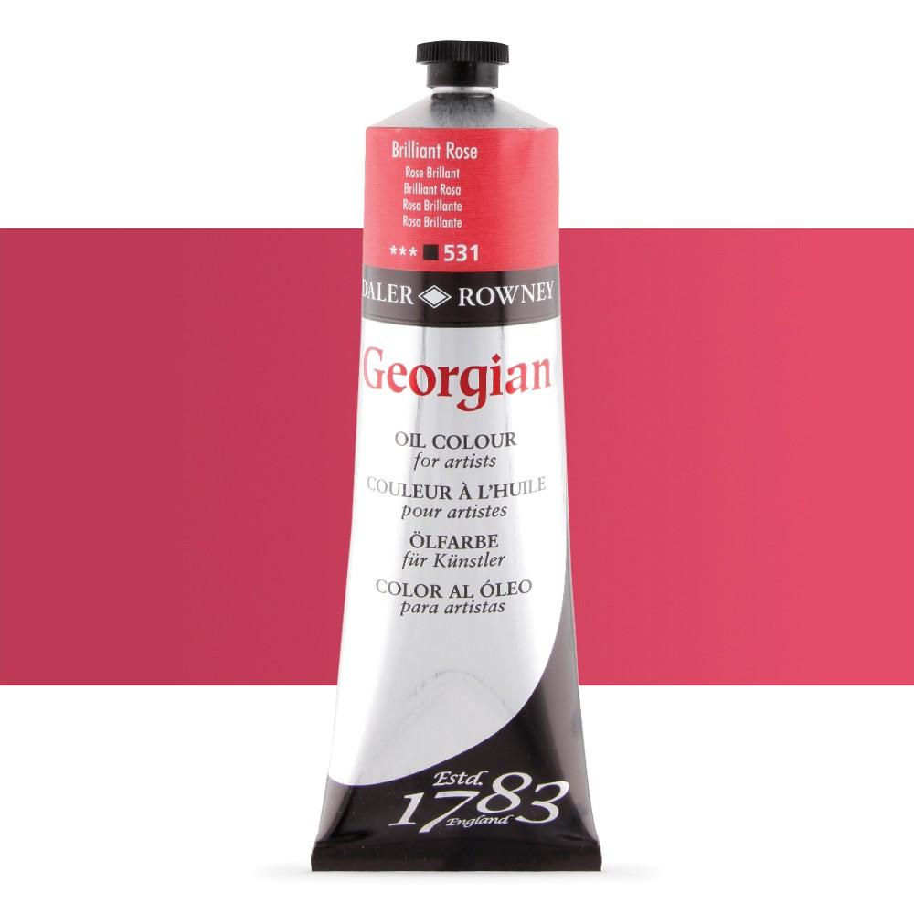 Daler Rowney : Georgian Oil Paint : 225ml : Brilliant Rose