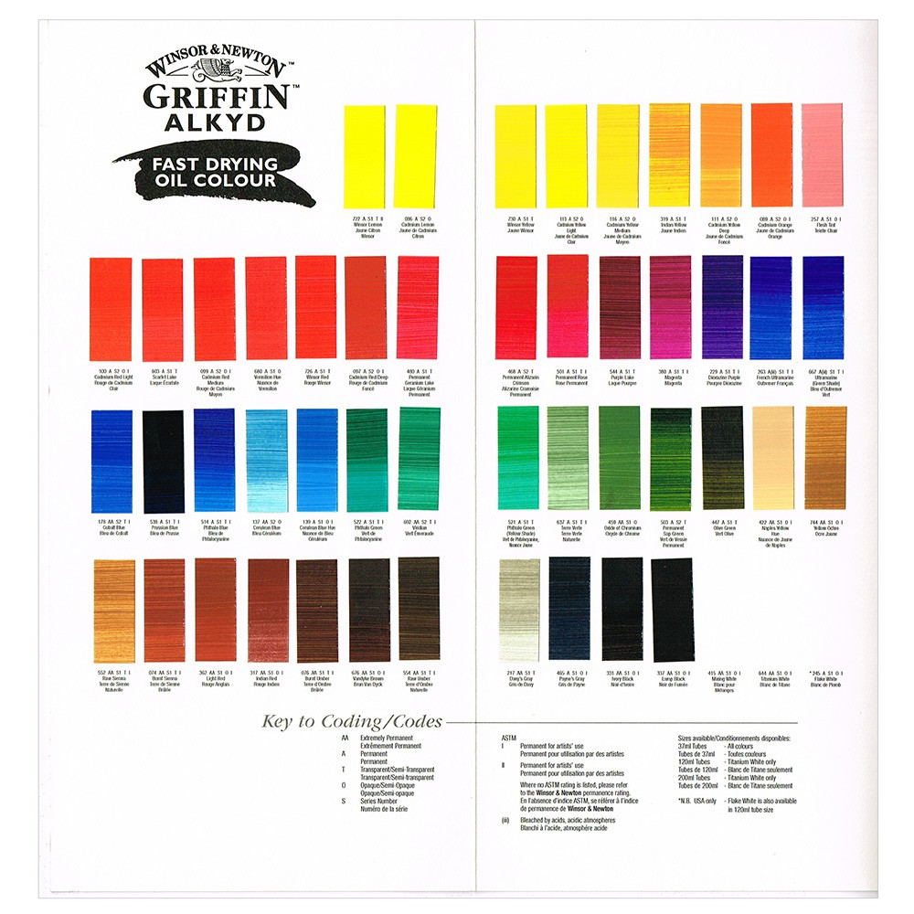 Griffin Hand-Painted Alkyd Oil Colour Chart