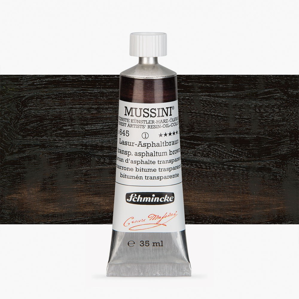 Schmincke : Mussini Oil Paint : 35ml : Asphaltum Black Translucent