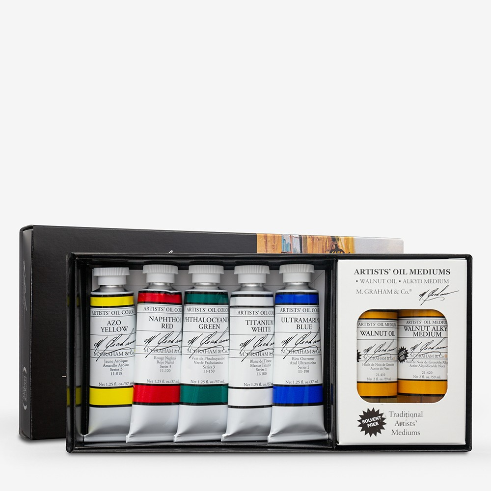 M. Graham : Artists' Oil Paint : 37ml : Set of 5 Colours & 2 Mediums