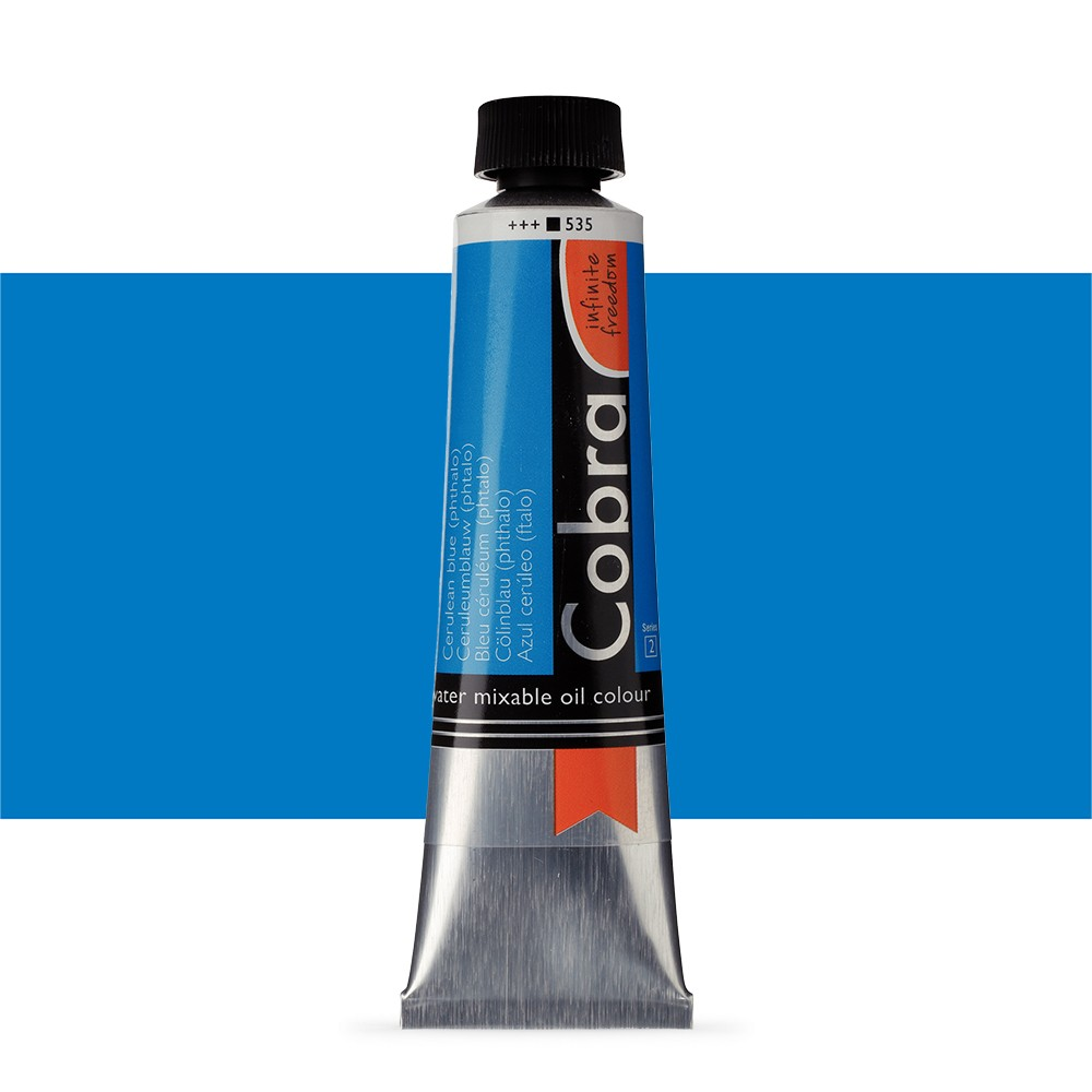 Talens : Cobra Artist Water Mixable Oil Paint : 40ml Cerulean Blue Phthalo