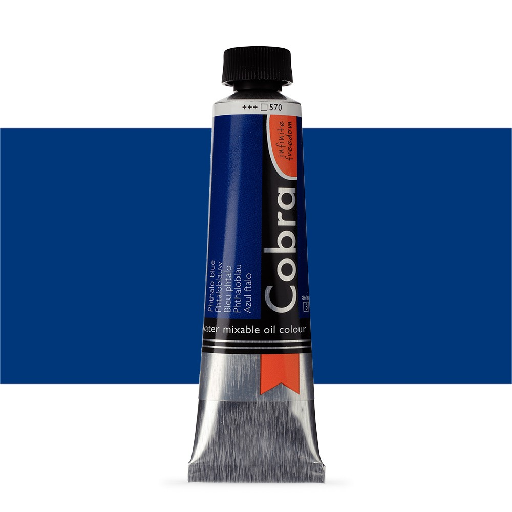 Talens : Cobra Artist Water Mixable Oil Paint : 40ml Phthalo Blue