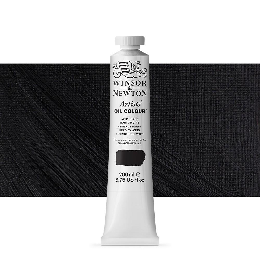 Winsor & Newton : Artists Oil Paint : 200ml : Ivory Black