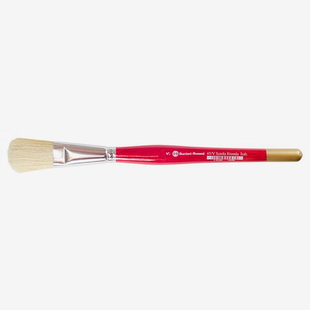 Borciani e Bonazzi : Flat Ferrule Domed White Bristle Brush : For Oil/Acrylic