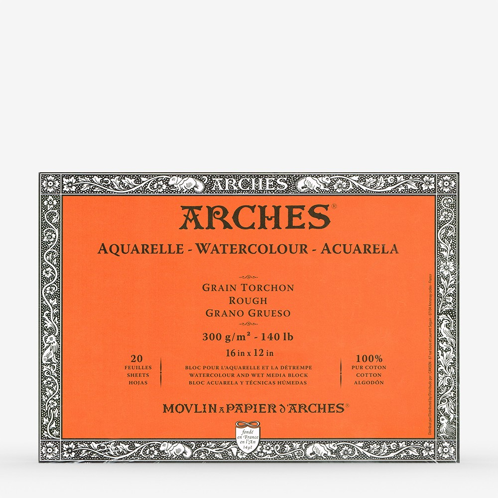 Arches : Aquarelle : Block : 16x12in : 20 Sheets : Glued : Rough
