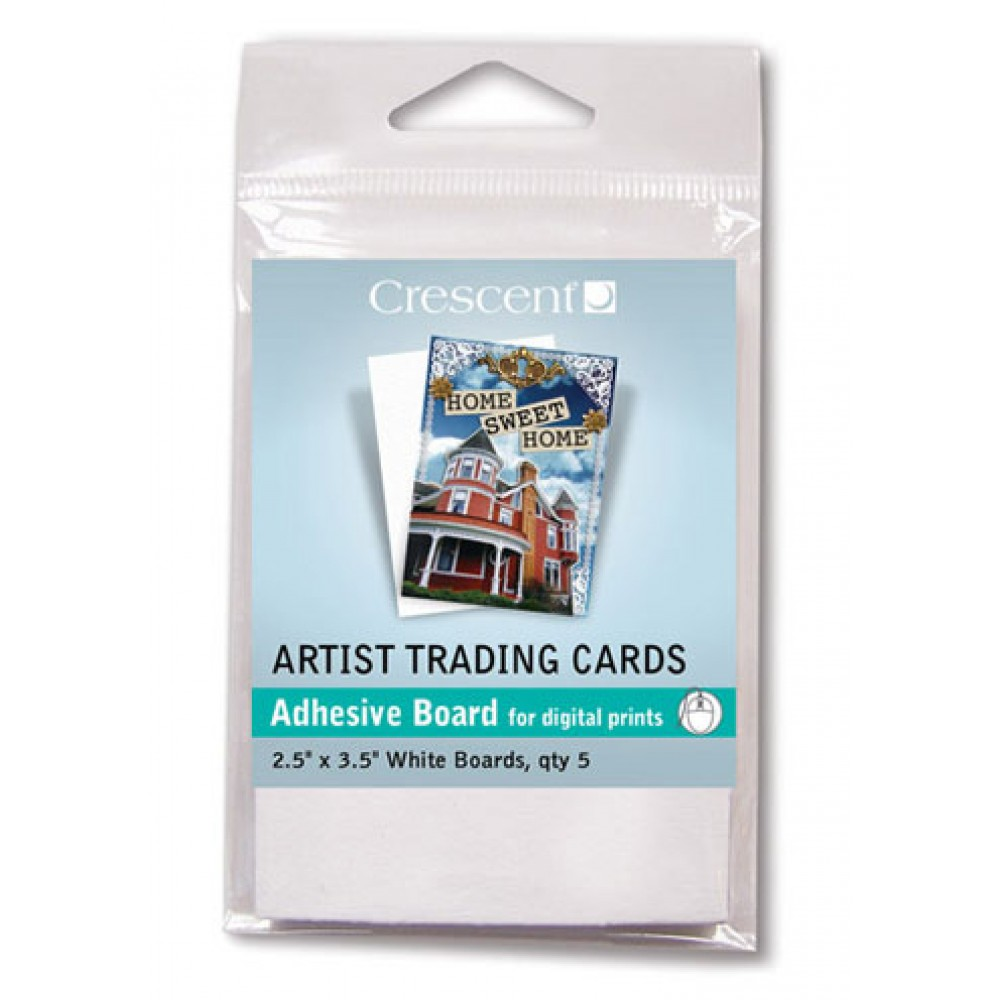 Crescent Artist Trading Cards : Perfect Mount : White Self-Adhesive Board : 2.5x3.5 inch : Pack 5
