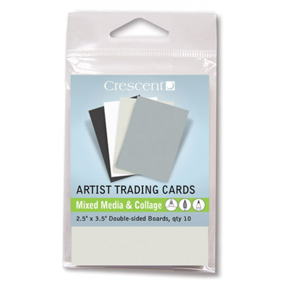 Crescent Artist Trading Cards : Mixed Media Grey Assorted Colours/Double Sided : 2.5x3.5 inch : Pack 10