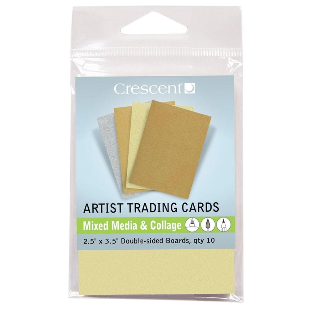 Crescent : Artist Trading Cards : Mixed Media Metallic Assorted : 2.5x3.5in : Pack 10