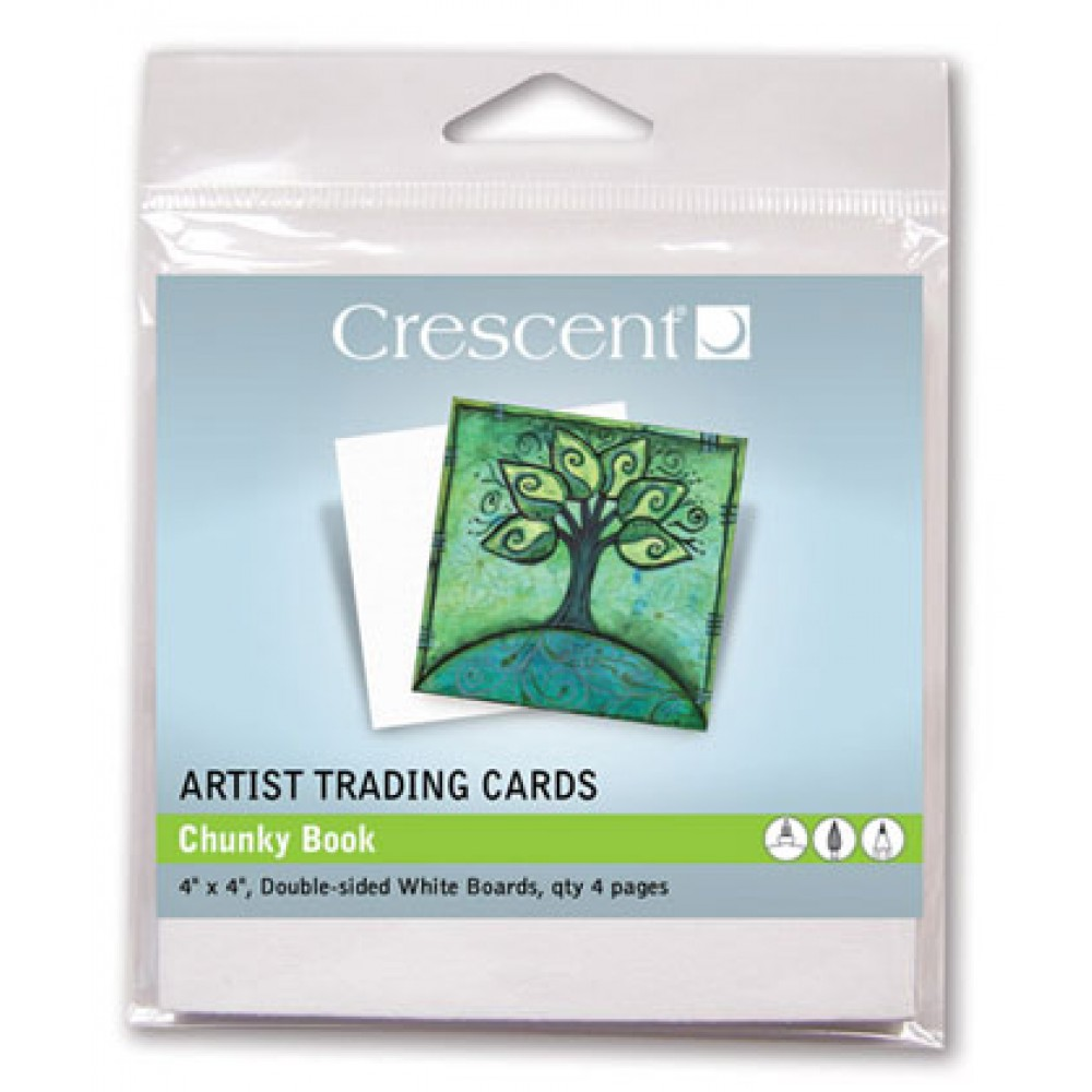 Crescent Artist Trading Cards : Chunky Book White/Double Sided : 4 x4 Inch : Pack 4