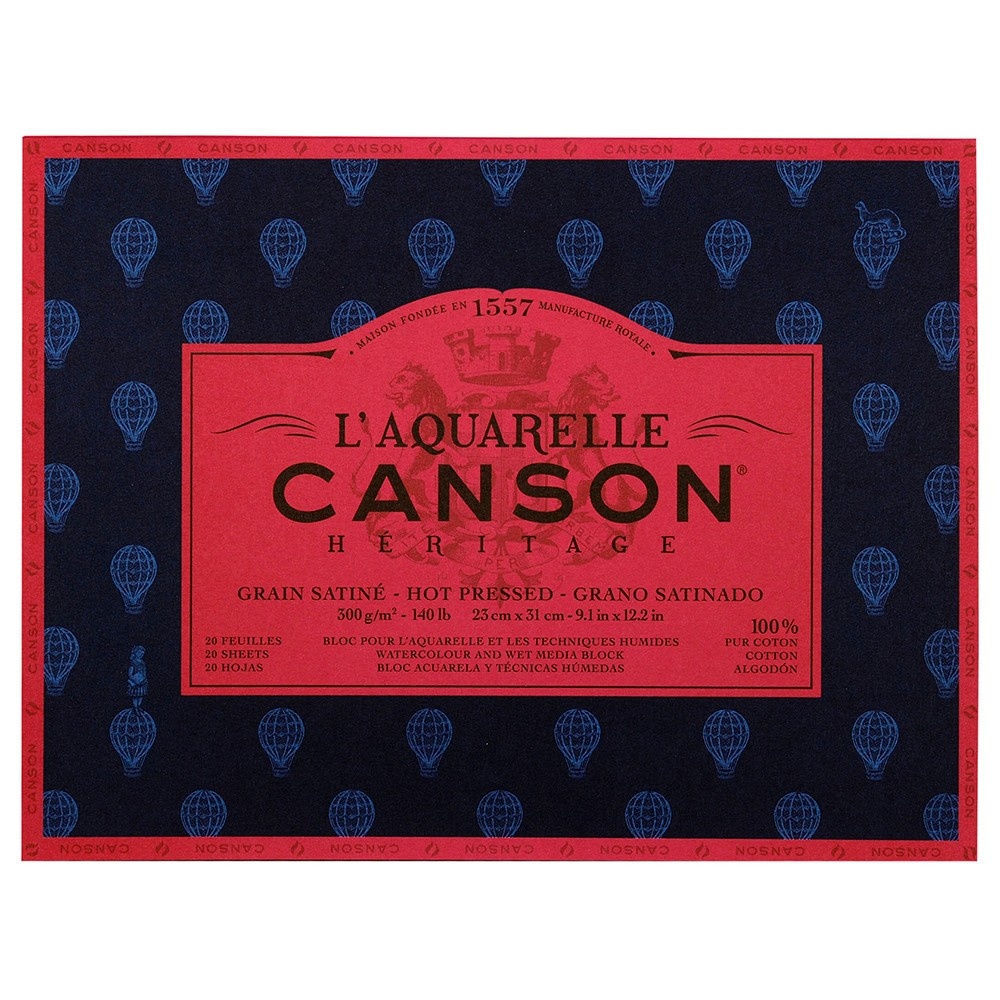 Canson : Heritage : Watercolour Paper Block : 300gsm : 23x31cm : 20 Sheets : Hot Pressed