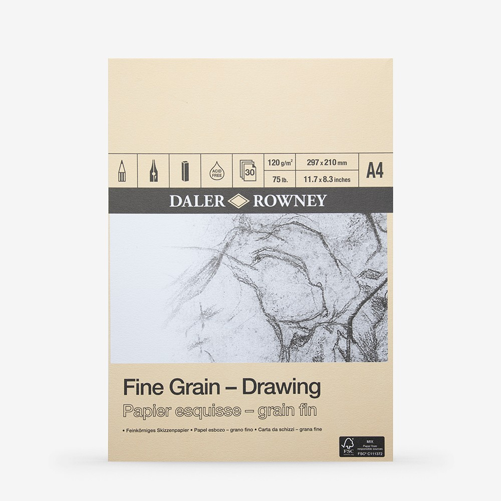 Daler Rowney : Fine Grain Drawing Pad : Cartridge Paper : 120gsm : A4