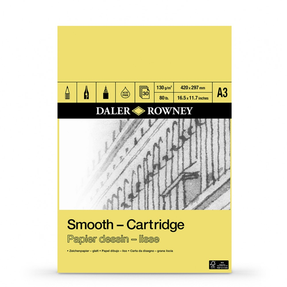 Daler Rowney : Smooth Cartridge Pad : 130gsm : 30 Sheets : Acid Free : A3