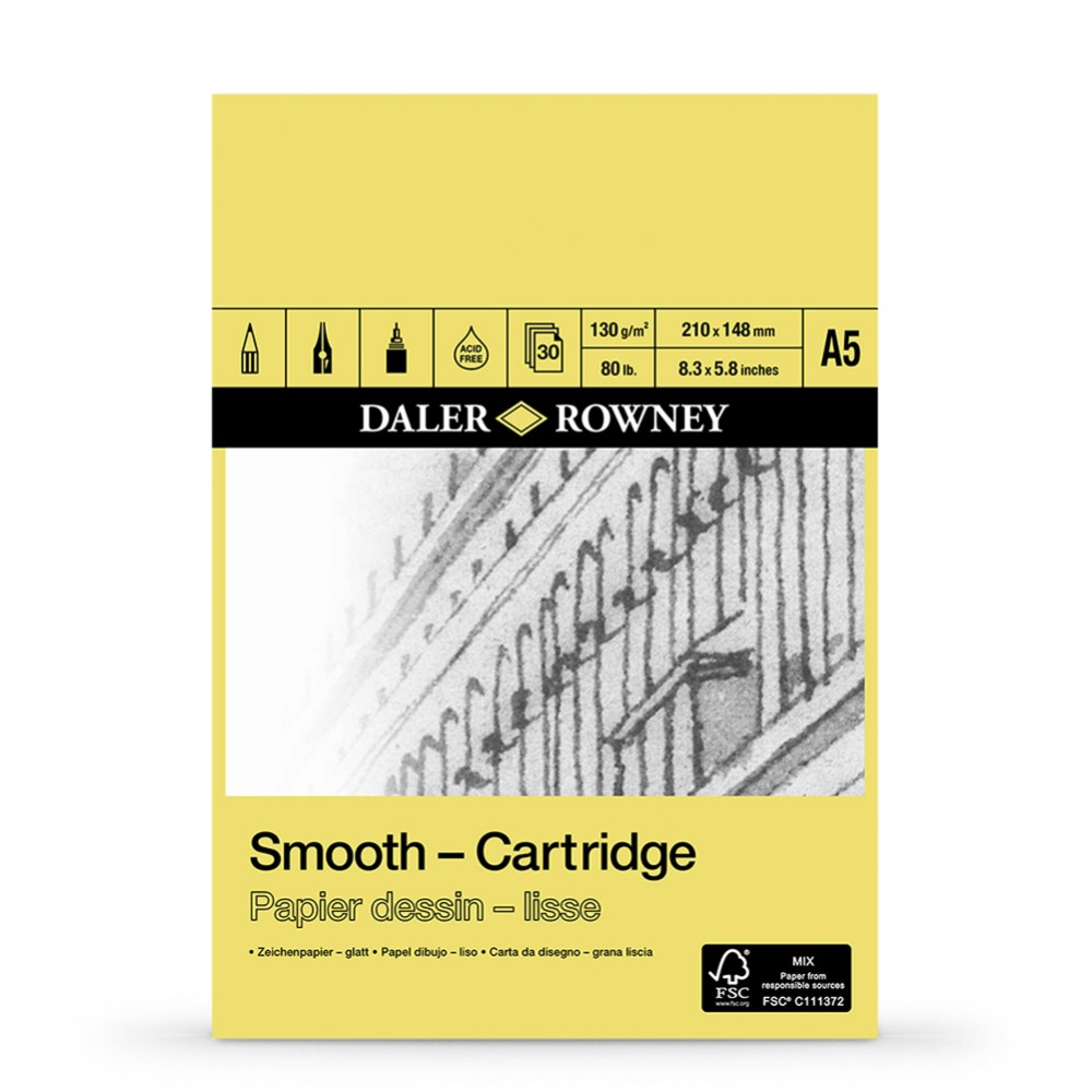 Daler Rowney : Smooth Cartridge Pad : 130gsm : 30 Sheets : Acid Free : A5