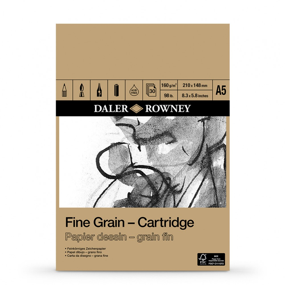 Daler-Rowney : A5 : 160gsm Fine Grain Drawing Cartridge Pad - 30 Sheets