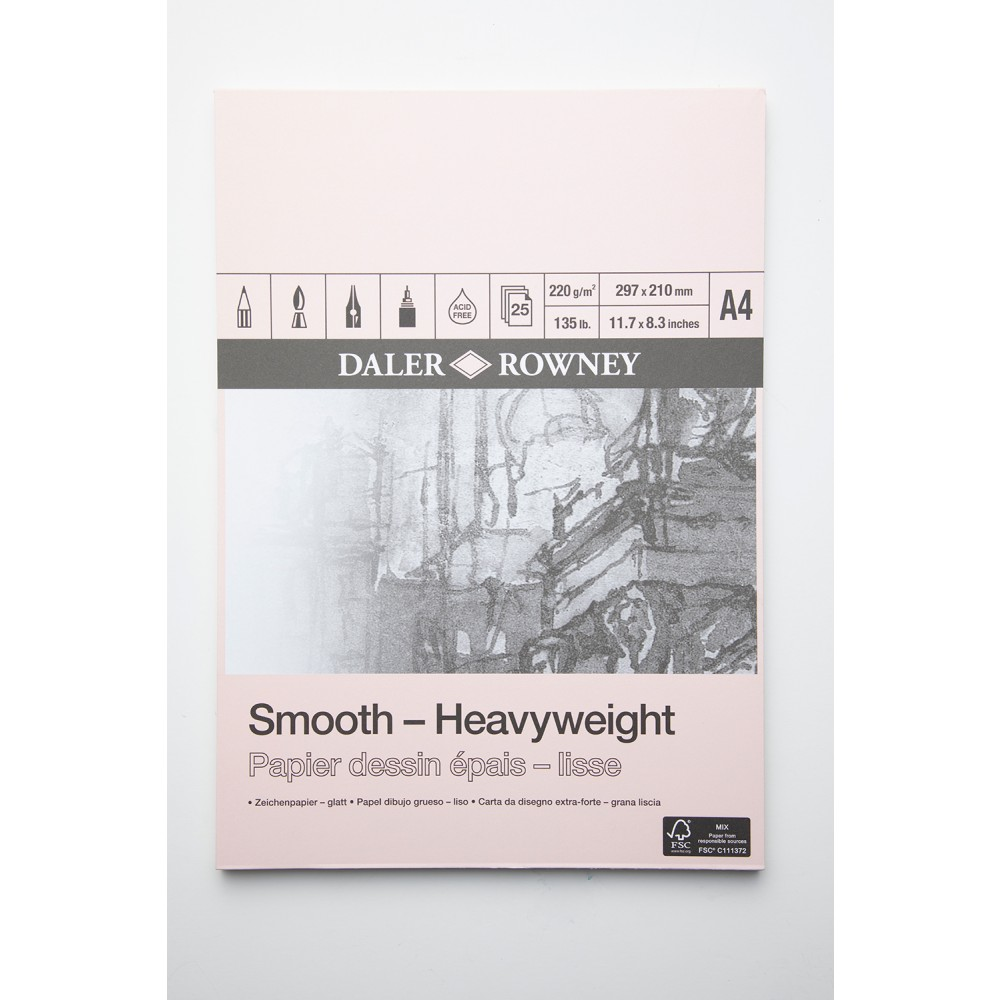 Daler Rowney : Smooth : Heavyweight Cartridge Pad : 220gsm : 25 Sheets : A4