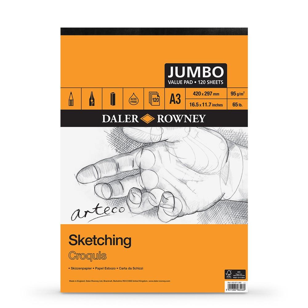 Daler Rowney : Arteco : Sketching Pad : Jumbo : 120 Sheets : A3