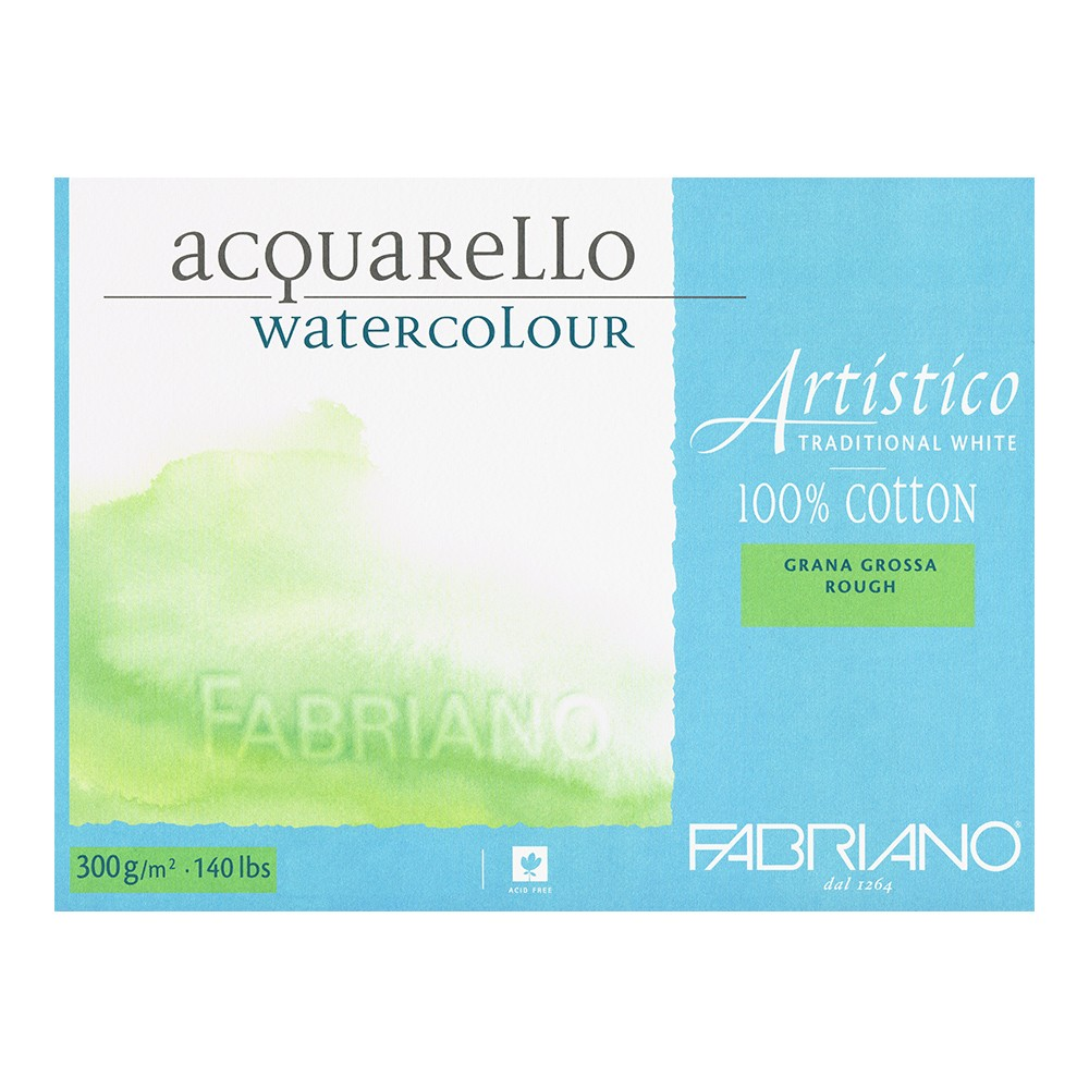 Fabriano : Artistico : Block : 140lb : 12x18in : 20 Sheets : Traditional : Rough