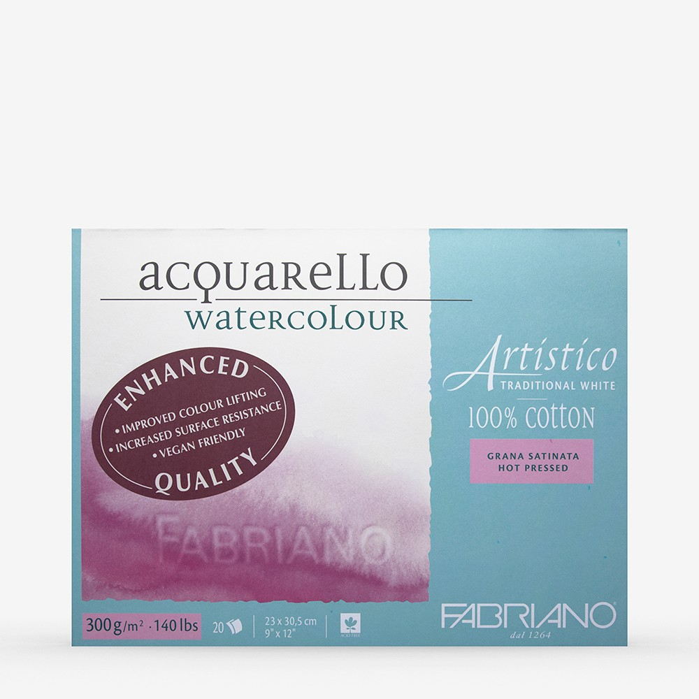 Fabriano : Artistico : Block : 9x12in : 20 Sheets : Traditional : HP