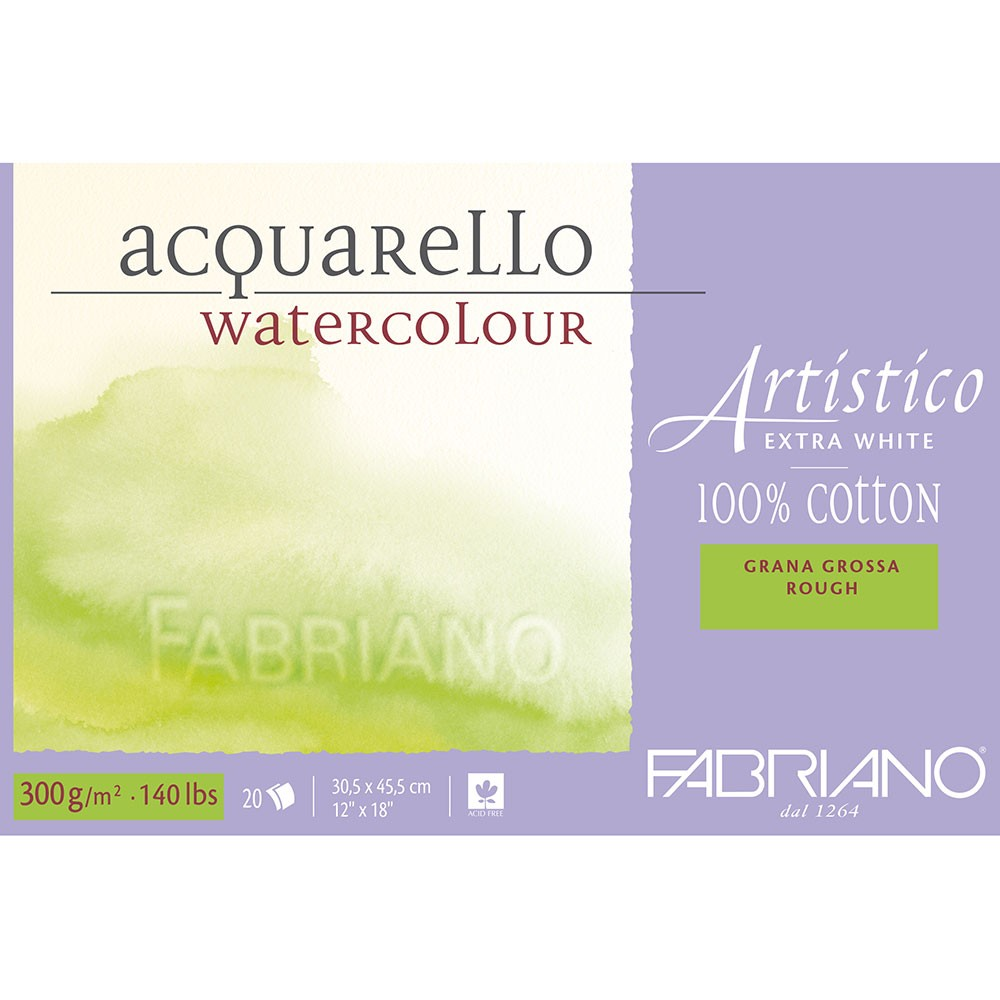Fabriano : Artistico : Block : 140lb : 12x18in : 20 Sheets : Extra White : Rough