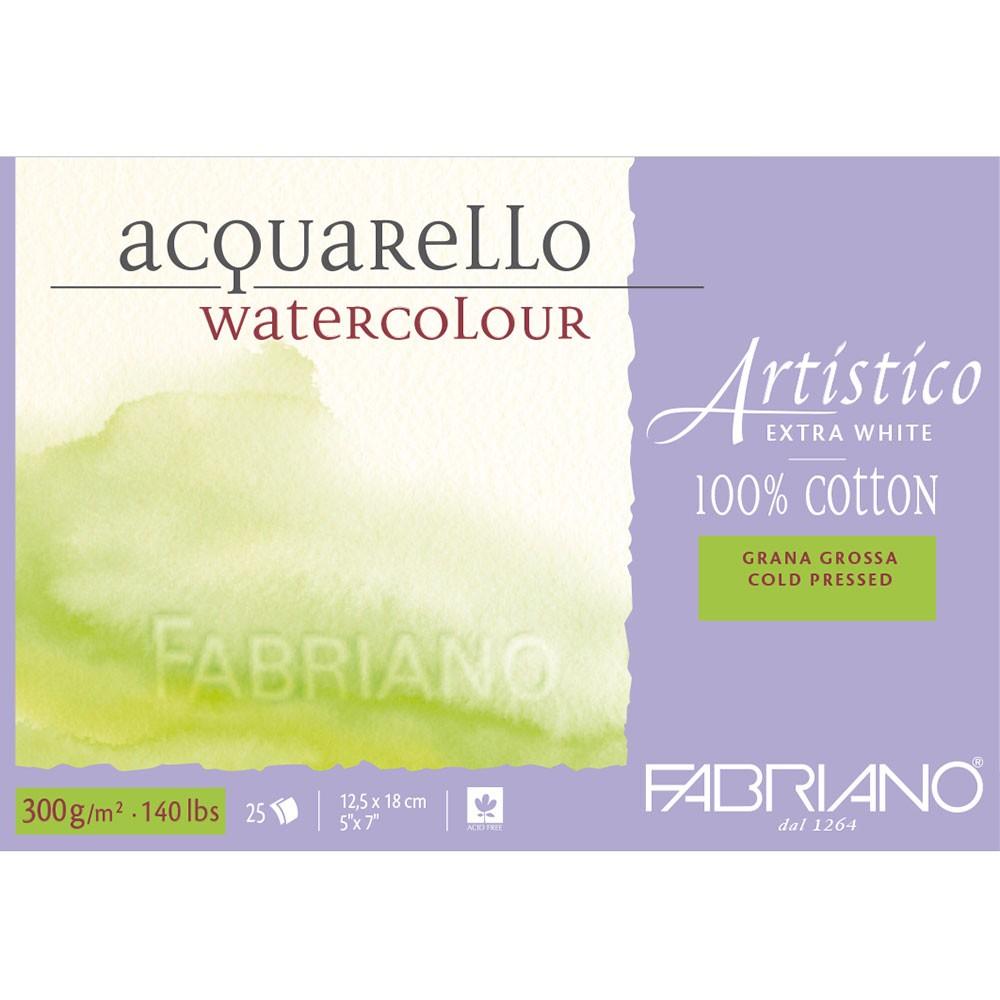 Fabriano : Artistico : Block : 140lb : 5x7in : 25 Sheets : Extra White : Rough