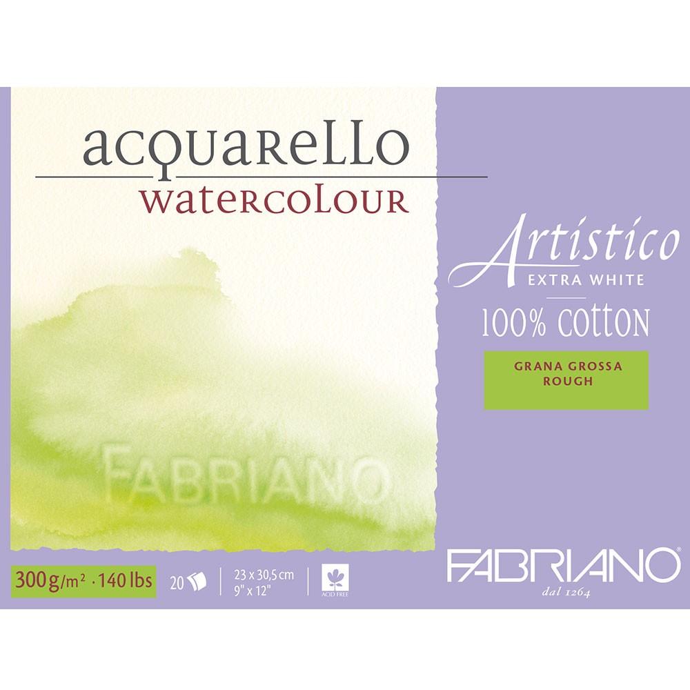 Fabriano : Artistico : Block : 140lb : 9x12in : 20 Sheets : Extra White : Rough